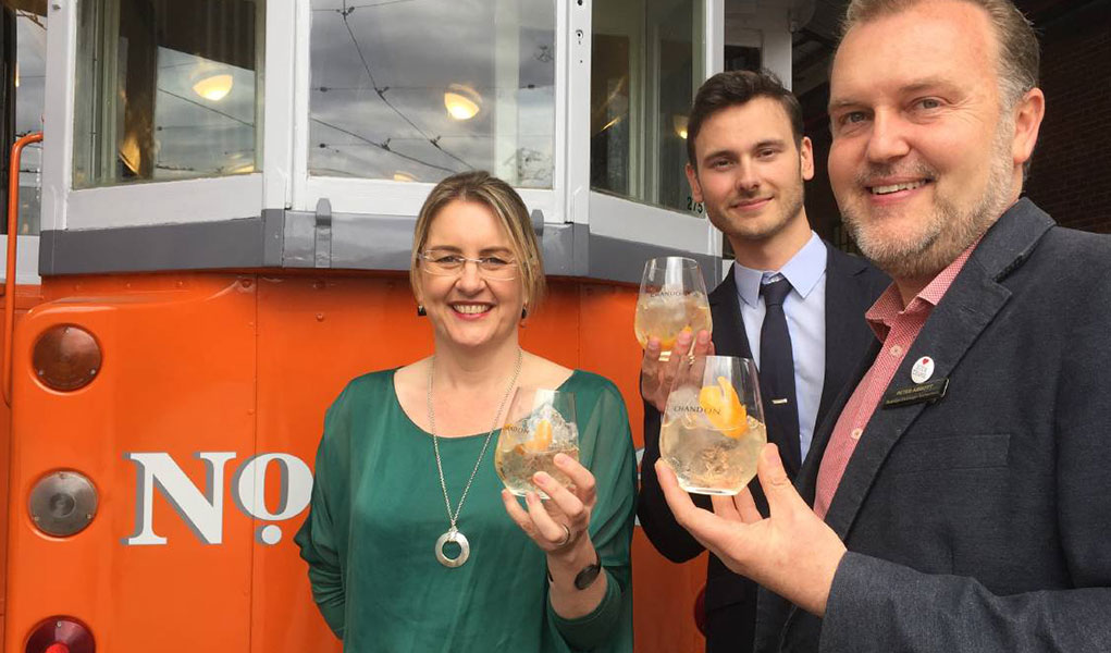 Jacinta Allan and Peter Abbott toast the new Chandon Pop up Tram Bar