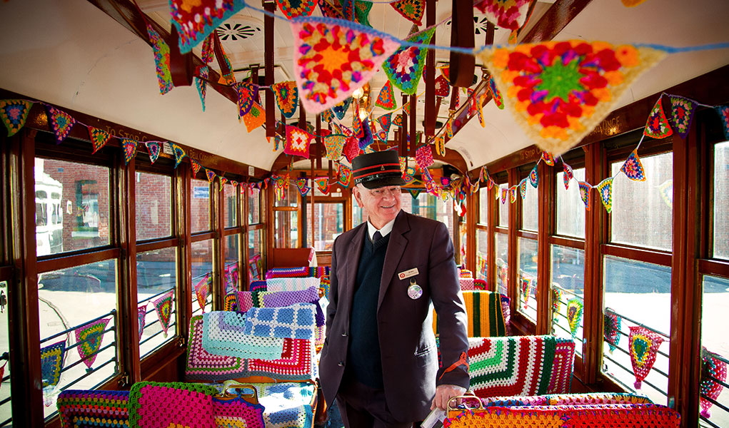 Bendigo Tramways Driver inside the crochet decorated Yarn Bomb Tram