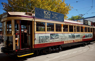 Anzac Centenary Tram sitting at the Bendigo Tramways Depot