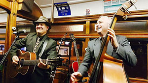 Musicians playing aboard the Blues Tram in Bendigo