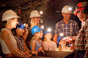 Family underground on a Mine Experience Tour at Central Deborah Gold Mine in Bendigo