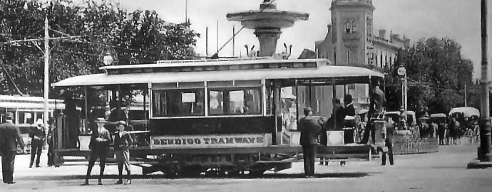 Bendigo Tramways Electric Tram at Charing Cross next to Alexandra Fountain