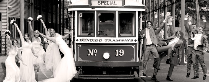Wedding Party posing with Bendigo Tramways Tram at the Central Deborah Gold Mine
