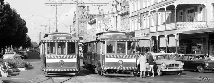 Passengers boarding Bendigo Tramways Tram 7 and 21 at Charing Cross in 1970