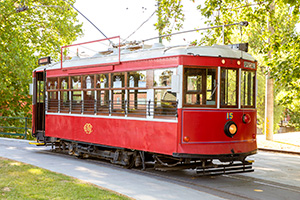 Vintage Talking Tram 15 sitting at the Bendigo Tramways Depot