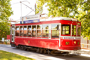 Vintage Talking Tram 30 sitting at the Bendigo Tramways Depot
