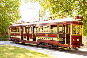 Vintage Talking Tram 44 sitting at the Bendigo Tramways Depot