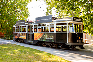 Vintage Talking Tram 610 sitting at the Bendigo Tramways Depot