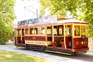 Vintage Talking Tram 84 sitting at the Bendigo Tramways Depot