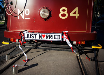 Just married signage and tin cans attached to Bendigo Tramways Tram