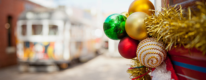 Bendigo Tramways tram decorated with Christmas baubles