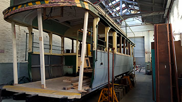 Tram number 7 in a dilapidated state before restoration was complete