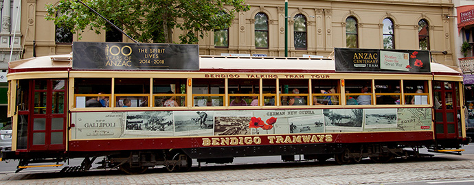 Bendigo Tramways Anzac Centenary Tram passing the Beehive Building