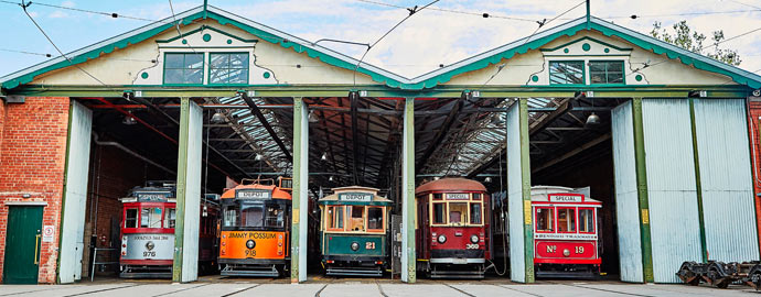 Five trams in a row at the Bendigo Tramways Depot and Workshop