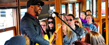Musician performs aboard the Bendigo Tramways Blues Tram