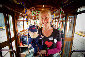 Bendigo Tramways Sam the Story Tram Presenter and visitors