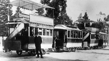 Bendigo Tramways Electric trailer cars and a ex-horse car at the Bendigo Railway Station
